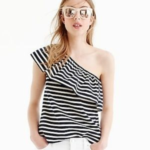 NWT J. Crew One Shoulder Striped Top